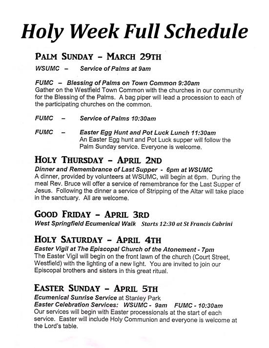 Full Holy Week Schedule